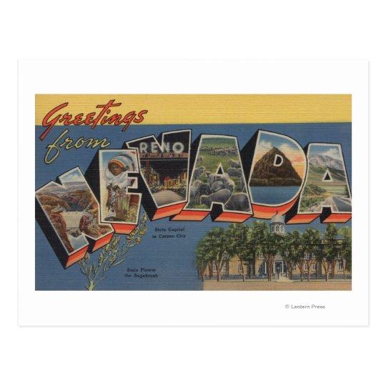 Nevada (State Capital/Flower) Postcard