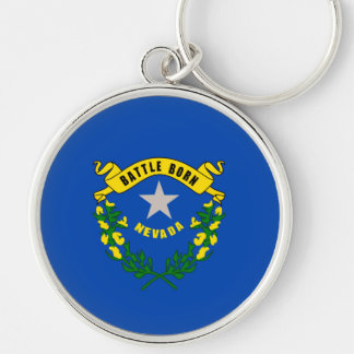 Nevada State Flag Design Silver-Colored Round Keychain