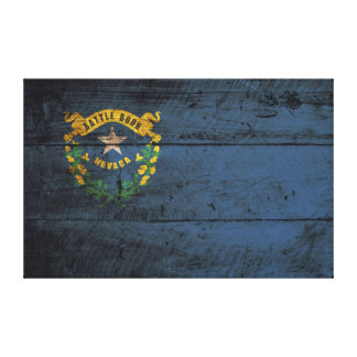 Nevada State Flag on Old Wood Grain Canvas Print