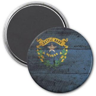 Nevada State Flag on Old Wood Grain Magnet