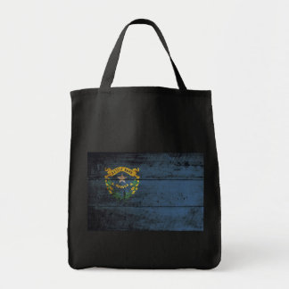 Nevada State Flag on Old Wood Grain Tote Bag