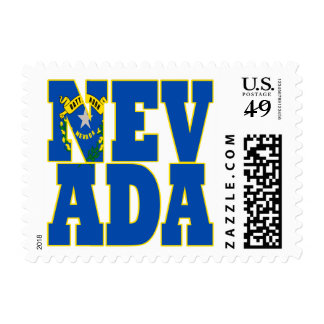 Nevada  state flag text postage