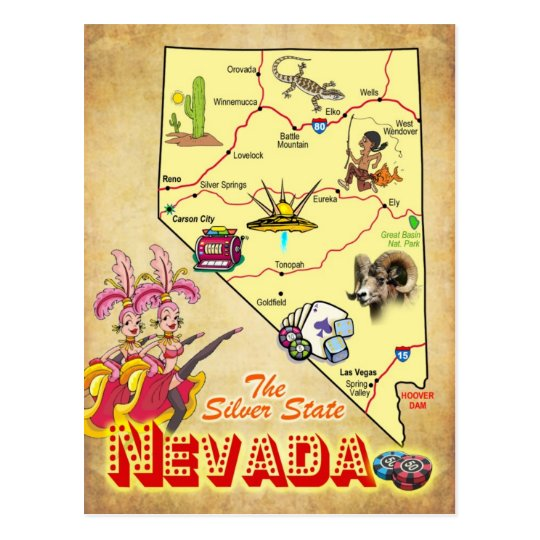 Nevada State Map Postcard  Zazzlecom
