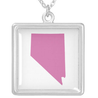 Nevada State Outline Square Pendant Necklace