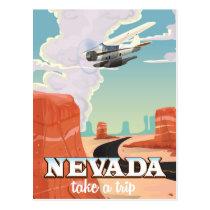 Nevada State vintage travel poster Postcard