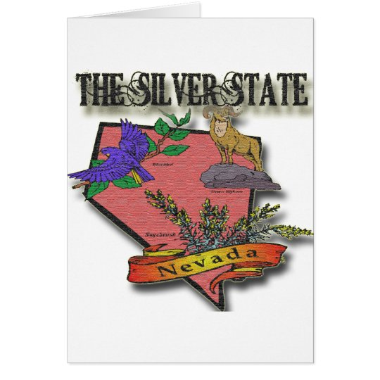 Nevada The Silver State Sagebush Bighorn Bluebird Card