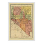 Nevada Town & Railroad Map 1893 Poster