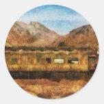 Nevada - tren del desierto etiquetas redondas