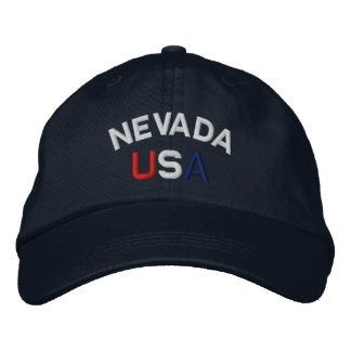 Nevada USA Embroidered Navy Blue White Hat