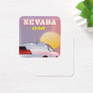 USA Themed Nevada USA Setting sun sports car Square Business Card