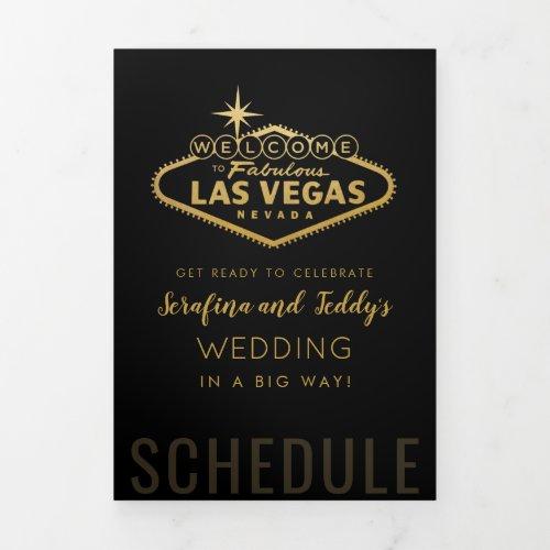 Nevada Vegas Guest Wedding Welcome Schedule Tri-Fold Program