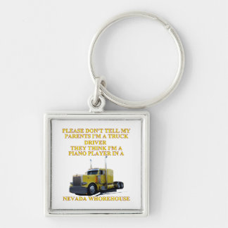 NEVADA WHOREHOUSE Silver-Colored SQUARE KEYCHAIN