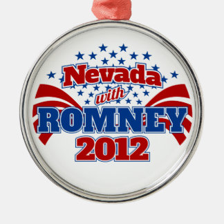 Nevada with Romney 2012 Round Metal Christmas Ornament
