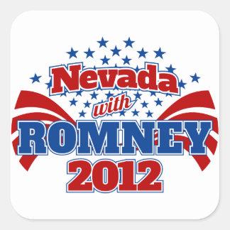 Nevada with Romney 2012 Square Sticker