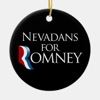 Nevadans for Romney -.png Double-Sided Ceramic Round Christmas Ornament