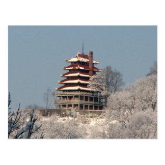 Nevadas en la pagoda tarjeta postal