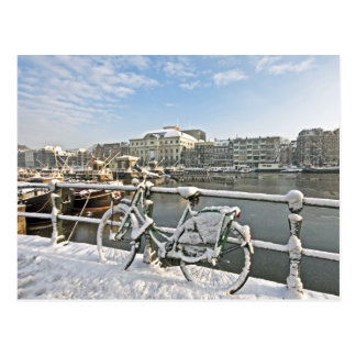Nevado Amsterdam en el Amstel en los Países Bajos Tarjetas Postales