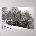 Nevado Amsterdam en los Países Bajos en invierno Posters