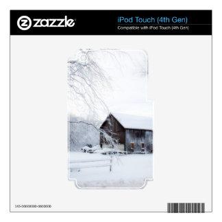 Nevado en granero del navidad calcomanías para iPod touch 4G