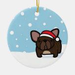 Nevado Frenchie Brindle Ornamento Para Arbol De Navidad