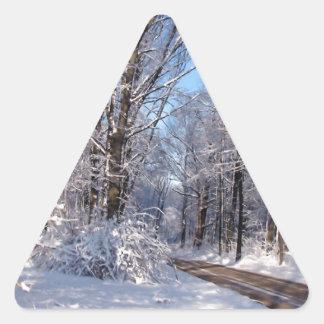 Nevado Michigan rural Calcomanías Triangulos