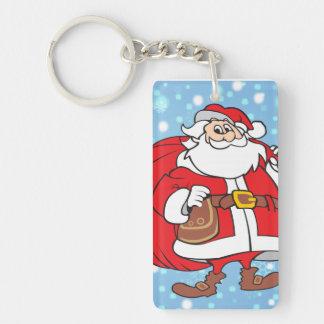 Nevado Santa y su bolso grande de regalos Llavero Rectangular Acrílico A Una Cara