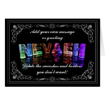 Nevaeh - Name in Lights greeting card (Photo)