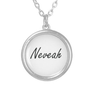 Neveah artistic Name Design Round Pendant Necklace