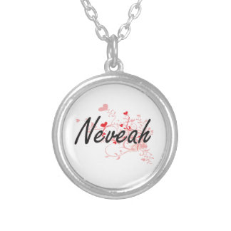 Neveah Artistic Name Design with Hearts Round Pendant Necklace