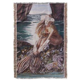 Never A Bride Mermaid Throw Blanket