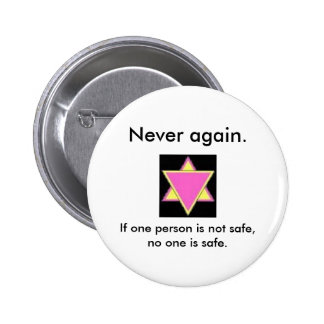 Never again pinback buttons