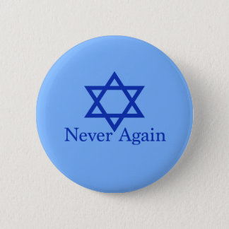 Never Again Jewish Holocaust Remembrance Button