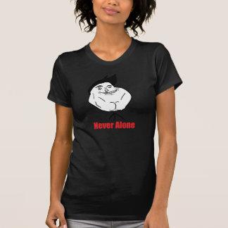 Never Alone - 2-sided Ladies Petite Black T-Shirt