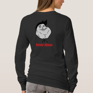 Never Alone - Design Ladies Long Black T-Shirt