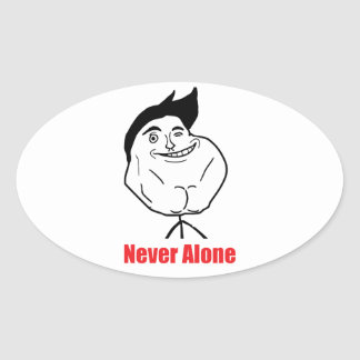 Never Alone - Oval Stickers