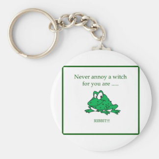 Never annoy a witch basic round button keychain