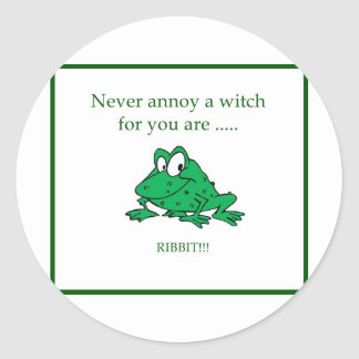Never annoy a witch classic round sticker