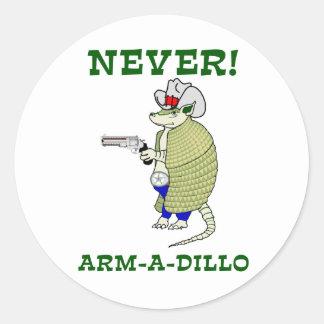Never Arm-A-Dillo Classic Round Sticker