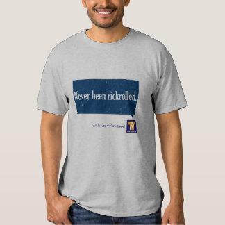"""Never been rickrolled"" tee shirt"