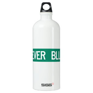 Never Blue Road, Street Sign, North Carolina, US Aluminum Water Bottle