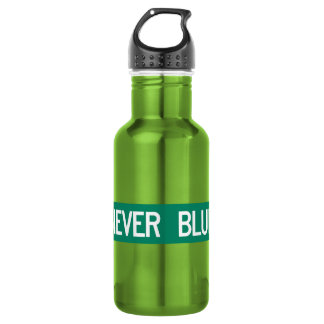 Never Blue Road, Street Sign, North Carolina, US Stainless Steel Water Bottle