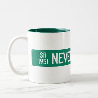 Never Blue Road, Street Sign, North Carolina, US Two-Tone Coffee Mug