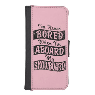 Never Bored ABOARD my SNOWBOARD (Blk) Wallet Phone Case For iPhone SE/5/5s