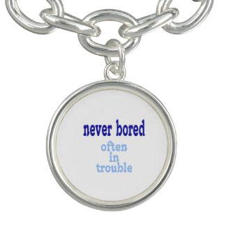Never Bored, Often in Trouble Charm Bracelet