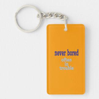 Never Bored (Orange Background Color) Double-Sided Rectangular Acrylic Keychain