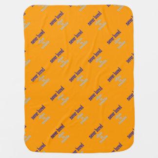 Never Bored (Orange Background Color) Swaddle Blanket