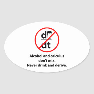 Never Drink And Derive Oval Sticker