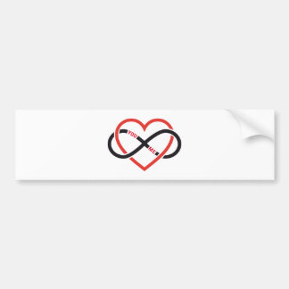 never ending love, red heart with infinity sign bumper sticker