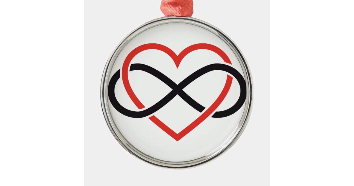 Never Ending Love Red Heart With Infinity Sign Metal Ornament