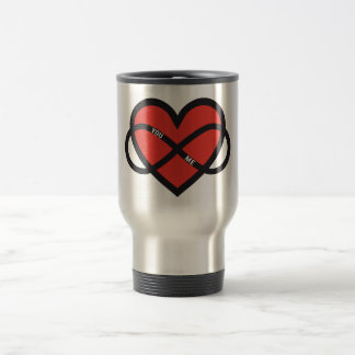 never ending love, red heart with infinity sign mugs